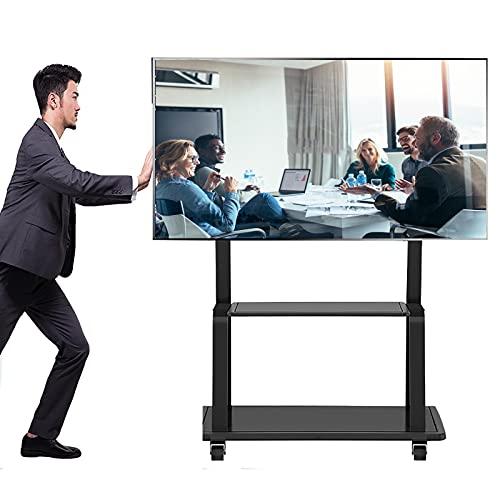 Soporte TV Trole Soporte para TV Móvil Negro Resistente, Se Adapta a 43 50 55 65 70 TV de 75 Pulgadas, Carro de TV Rodante Universal para El Hogar de La Oficina sobre Ruedas, Altura Ajustable