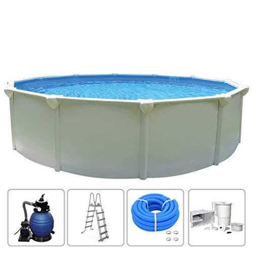 KWAD Schwimmbecken mit Filterpumpe Stahlwandbecken Schwimmbad Swimming Pool Familienpool Planschbecken Aufstellbecken Komplettset Rund 4,6x1,32m