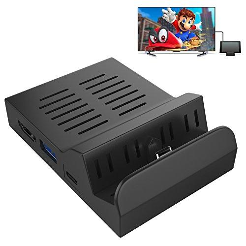 MoKo Kompatibel mit Nintendo Switch Tragbar Dock, Wärmeableitung Eingebauter Chip Ladestation Charging Ersatz Dockstation 3 integrierten USB-Ports & HDMI & Typ C Adapter für Joy-Con, Schwarz