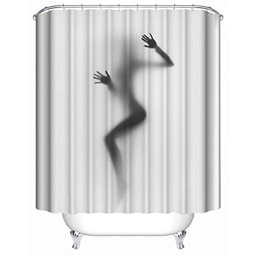 HUIYIYANG Duschvorhang, Schattenbild des sexy Mädchens auf weißem Hintergrund-wasserdichtem Anti-Mehltau-Gewebe-Polyester-Badezimmer-Duschvorhang60 x 72