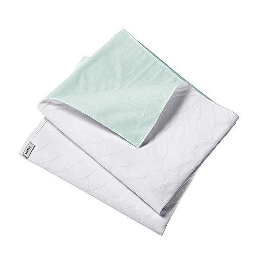 UMI. Essentials Doppelpack wasserdichte Saugvlies Matratzenauflage Inkontinenzauflage(86x132cm Quadratisches Muster Weiß)