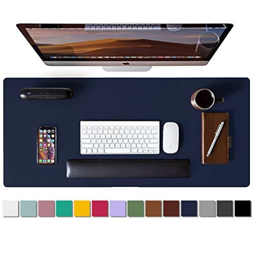 Leather Desk Pad ProtectorMouse PadOffice Desk MatNonSlip PU Leather Desk BlotterLaptop Desk PadWaterproof Desk Writing Pad for Office and HomeDark Blue315quot x 157quot