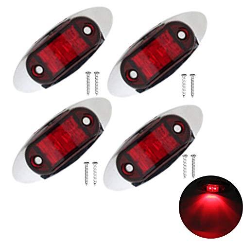 PolarLander 4pcs 12v 24v Rouge LED Feu de balisage latéral Lampe 10-30v Lampe de Camion de Voiture Lampe de remorque Tracteur Arrière Feux externes