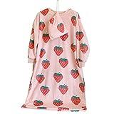 Vxhohdoxs Damen-Nachthemd aus Flanell, lange Ärmel, Übergröße, Erdbeere, Nachtwäsche, Kleid