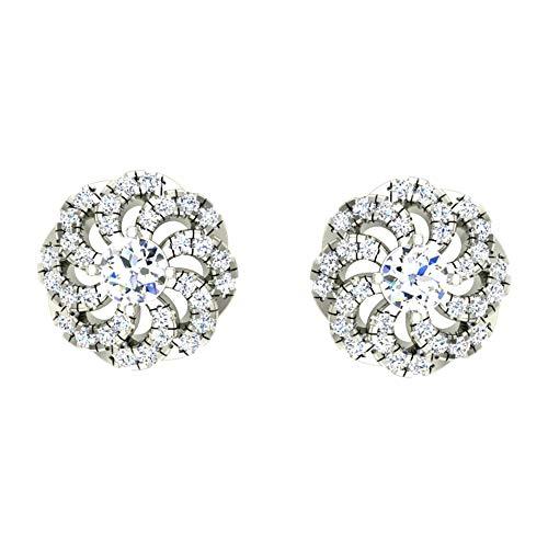 Pendientes de oro blanco y amarillo de 14 quilates de 18 quilates de 1,30 quilates con diamantes de imitación para mujeres y niñas de Dishis Dessignner Jewelry