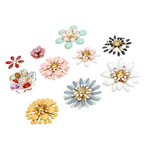 HEALLILY 10Pcs Flower Flatback Charm Enamel Floral Pendant Copper Flower Jewelry Charm Bead Button for Jewerly Making Bag Clothes Shoes Phone Case Random Style Color