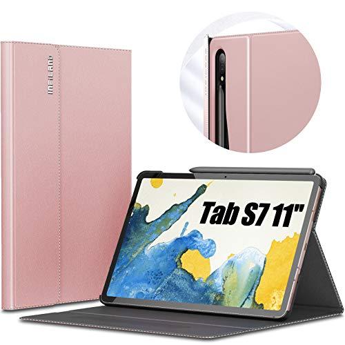 INFILAND Hülle für Samsung Galaxy Tab S7 11 2020, Hochwertige mit Mehreren Winkeln Schutzhülle Tasche für Samsung Galaxy Tab S7 11 (T870/T875) 2020, Auto Schlaf/Wach, Rosa Goldene