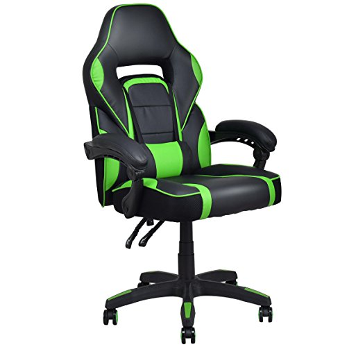 Giantex Gaming Chair Ergonomic High Back Computer Task Chair PU Leather Bucket Seat Swivel Home Office Desk Chair with Lumbar Support Racing Gaming Chair (Green) chair gaming green