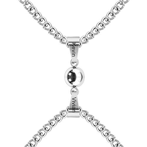 ForeverWill Collares magnéticos de atracción personalizados con nombres personalizados para parejas, collar a juego, juego de joyería de amistad personalizado regalos para él y ella, personalizable