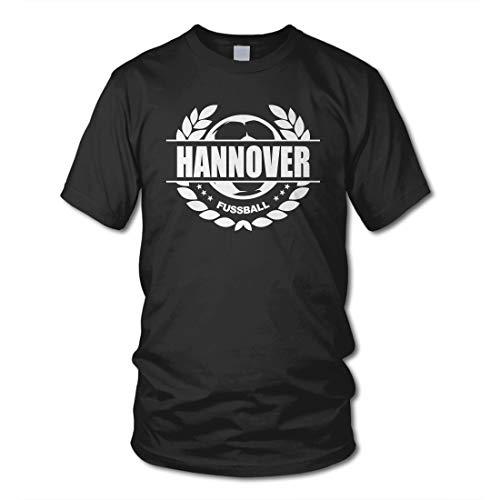 shirtloge - Hannover - Fussball Lorbeerkranz - Fan T-Shirt - Schwarz - Größe XL
