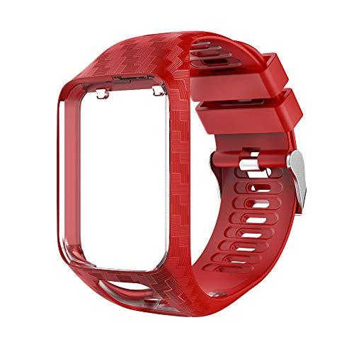Sinicyder Ersatz-Armband für Tomtom, Streifenmuster Uhrenarmband Weiches Silikon Ersatz Uhrenarmbänder Straps Sport Armband für Tomtom Adventurer, Runner 2/3, Spark 2/3, Golfer 2 Armband (Rot)