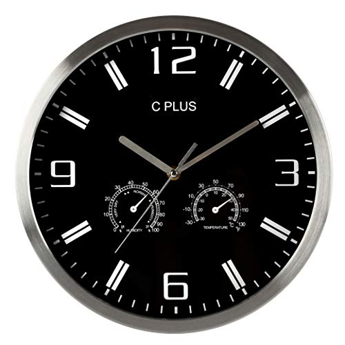 Wall Clock Non-Ticking Silent Battery Operated 12 Inch Quiet Sweep Quartz Movement Modern Home Decorations Temperature Humidity Large Numbers Easy Read Round Indoor Living Room Kitchen Office Black