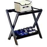 CYY Luggage Rack Portaequipajes, Mochila Plegable De Madera Maciza De La Habitación del Hotel, Mochila De La Maleta De La Rejilla del Equipaje, Negro