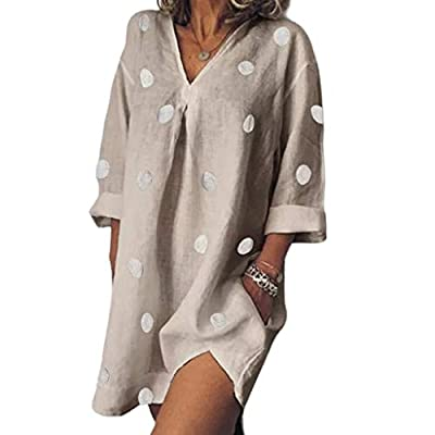 W-Fight Womens Summer Roll Up Long Sleeve Mini Blouse Dress Side Split Sexy V-Neck Tunic Tops with Pockets