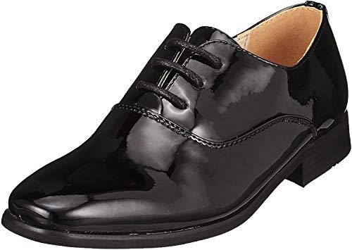 Goor Jungen Lack Oxford Schuhe (38,5 EU) (Schwarz Lack)