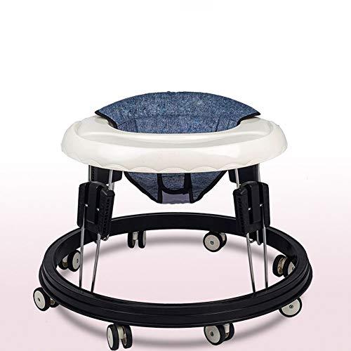 Byfjkkl Baby Walkers - Andador Plegable para Niños Pequeños con 8 Ruedas, Bandeja - Asiento Y Andador Ajustables En Altura - para Niños Niñas A Partir De 6 Meses,Gris
