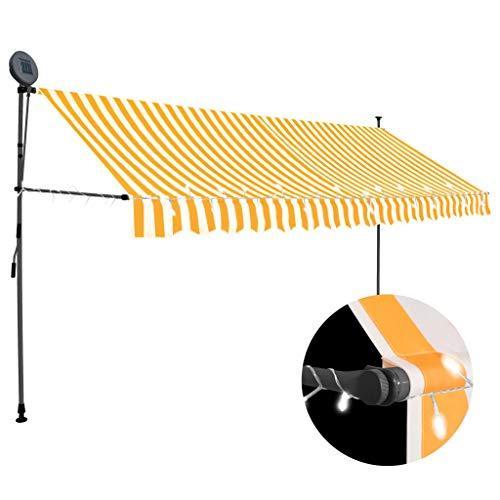 Extaum Gelenkarmmarkise mit LED Sonnenmarkise Balkonmarkise Einziehbare Markise Terrassenmarkise Klemmmarkise, Sonnenschutz UV-beständig, 400 cm Weiß Orange