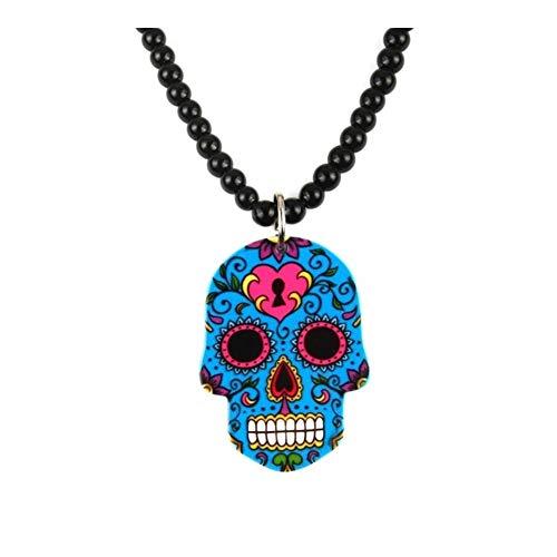 AdorabFruit Présent Pendentif Punky del Esqueleto Colgante, Collar for Las Mujeres de los Hombres Smooth Strand Granos del cráneo Collares joyería (Metal Color : Sapphire Blue)