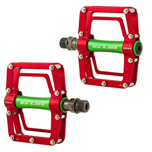 GUB GC010 Fahrradpedale Fahrrad Stahl/Aluminium Pedale 9/16 Zoll für MTB Bike Trekking BMX Freeride usw. Rot