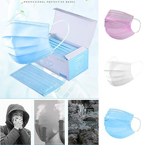 QHJ 50 Stück Einweg Ohrbügel Mundschatten Winddicht Erwachsene Kinder Schutz Stoff Staubschutz Nase Atmungsaktiv Sanft Gesicht Mund Bandanas (white)