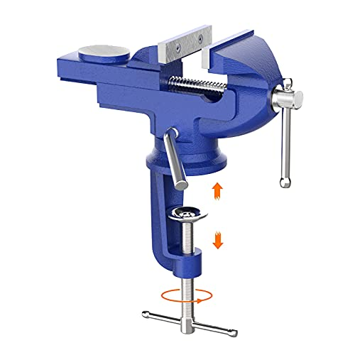 Innest Clamp on Vise Swivel Base - Bench Vise Swivel Base 3inch, Table Vice Portable for Workbench, Home, Drilling, Woodworking, and More, Blue