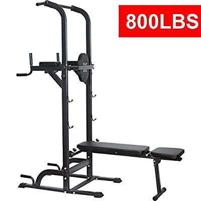 Reliancer Power Tower Dip Station High Capacity 800lbs w/Weight Sit Up Bench Adjustable Height Heavy Duty Steel Multi-Function Fitness Pull Up Chin Up Tower Equipment for Home Office Gym Dip Stands