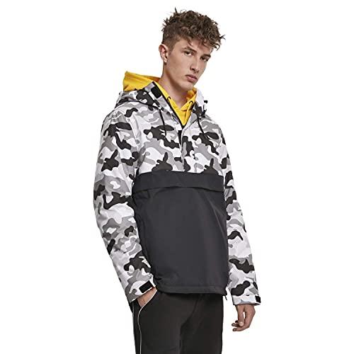 Urban Classics Herren Mix Pull Over Jacket Jacke, Mehrfarbig (Black/Snow Camo 02273), XXL