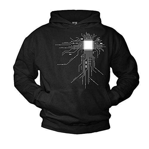 MAKAYA Cooler Geek Pullover mit Kapuze CPU schwarz Größe M