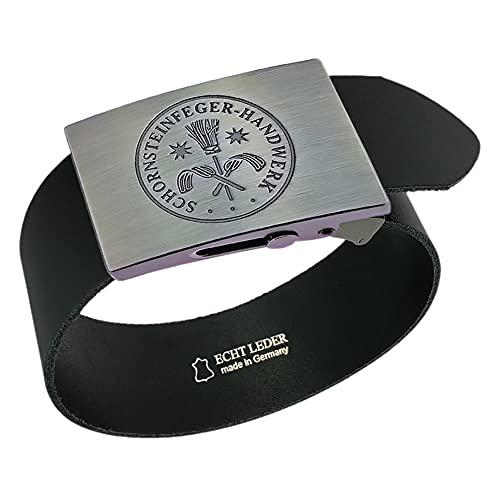 Gravurmanufaktur Cinturón deshollinador de chimeneas, artesanía y signos – Cinturón de cuero o nailon de 4 cm de ancho – Longitud 120 – 130 cm – acortable Negro Talla única