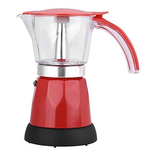 ASHATA Cafetera Eléctrica,Cafetera Moka de Aleación de Aluminio para Hacer Café Fresco y Delicioso en Casa,Auto-apagado,Desmontable,Fácil de Limpiar(300ml/6 Tazas)(Rojo)