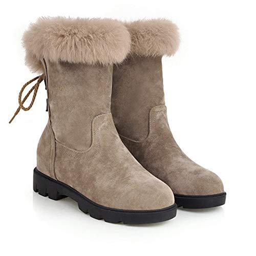 schoenen Vrouwelijke winter sneeuw laarzen Korte buis, Winter plus fluwelen verdikking vrouwen warm katoen, Kunstmatig haar Anti-bont waterdichte stof Vrouwen platte casual Lage enkellaarzen