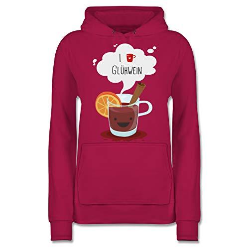 Weihnachten & Silvester - I Love Glühwein glückliche Tasse - L - Fuchsia - Weihnachts Pulli - JH001F - Damen Hoodie und Kapuzenpullover für Frauen