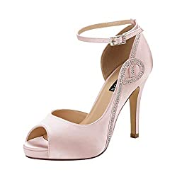 Blush Peep Toe Side Open Rhinestones Platform