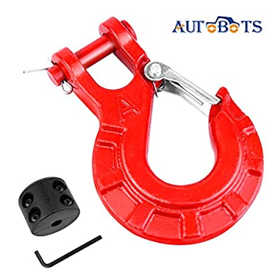 """AUTOBOTS 3/8"""" Winch Cable Hook Set, Heavy Duty Forged Steel Grade 70 Latch Clevis Slip Hook, Included Allen Wrench & Winch Hook Stopper, Max 35,000 lbs,Red & Black"""