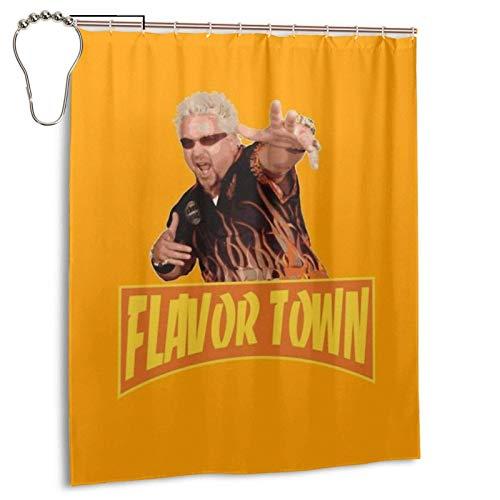 milkcolor Flavour Town USA Guy Flerl Meme Duschvorhänge Wasserdichter Badezimmer-Duschvorhang mit Haken Hochleistungs-Stoff-Badvorhang für Badewannen-Duschen Badezimmerdekor 60 'B X 72' H.