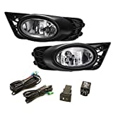 shamoluotuo Clear Fog Lights Kit for Honda Civic 4dr Sedan 2009 2010 2011 w/ Chrome Cover Black Bezel Wiring Switch Bulbs Left & Right Bumper Driving Assembly Lamps OEM Requirements (Black)