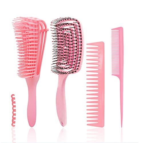 Yolistar Cepillo Desenredante, Detangling Brush, Cepillo para el pelo, cepillo de pelo curvo y ventilado, Juego de peines de modelado Para Cabello Rizado Húmedo/Seco/Largo y Grueso