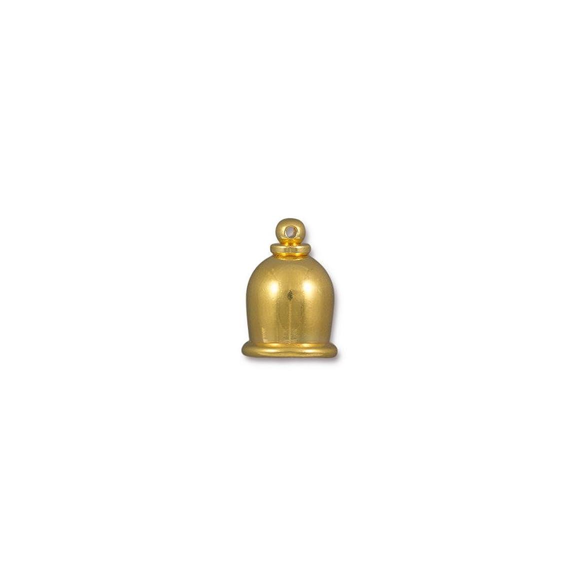 TierraCast Cord End Taj Beads, 8mm Inner Diameter/16mm, Bright Gold