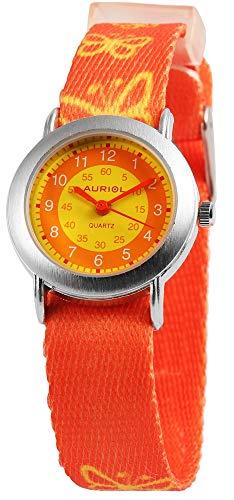 Auriol - Reloj de Pulsera para niños (analógico, Metal, Textil, Cuarzo), diseño de Mariposa, Color Naranja y Amarillo