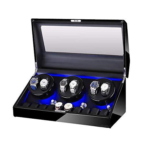 CCAN Caja enrolladora de Reloj automática para 6 Relojes + 10 Almacenamiento Carcasa de Madera Acabado de Pintura de Piano Iluminación incorporada Motor silencioso