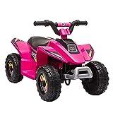 HOMCOM Quad Eléctrico para Niños de +3 Años Vehículo Eléctrico Cuatrimoto a Batería 6V con Avance y Retroceso Carga Máx. 30 kg 72x40x45,5 cm Rosa
