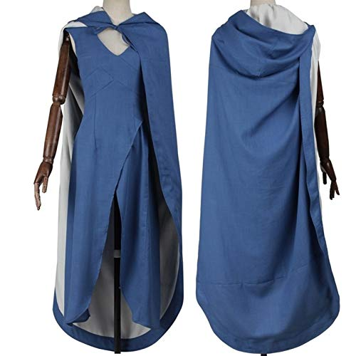 GONG Cosplay Game of Thrones Cosplay Costume Adult Women Outfit A Song of Ice Fire Daenerys Targaryen Blue Dress (Color : Dress and Cloak, Size : Medium)