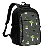 asfg Resistente a Las Manchas Potted Plant Hand Drawn Multifunctional Personalized Customized USB Backpack, Student School Outdoor Backpack,Travel Bag Laptop Bookbags Business Daypack.