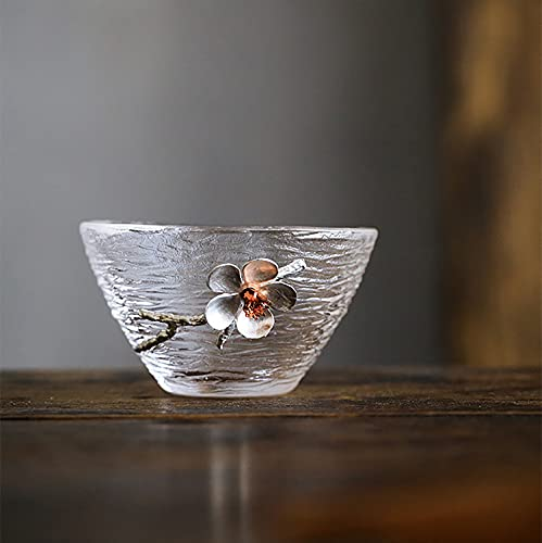 Zen Life Japanese hammered glass exquisite -set of 2 tea cups/sake cups, with tin and copper plum blossom decoration-A
