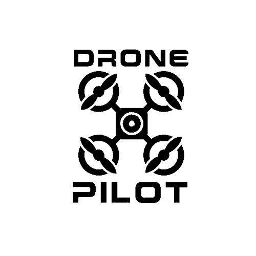 CANGZHOUXIYU Calcomanías para coche, 10,2 cm x 13,4 cm, diseño de dibujos animados de dron piloto, UAV, calcomanía de vinilo para coche, color negro (tamaño: negro)