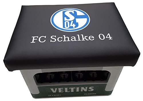 Schalke 04 Logo auf Bierkisten Aufsatz Bierkiste Bierkasten Sitz Bierkastensitz für Stehtisch Sitzkissen Kissen (Schalke Schwarz)