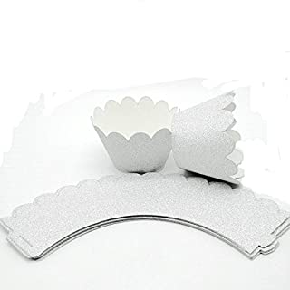 Hemarty 24pc Glitter Silver Scalloped Cupcake Wrappers Silver Paper Cupcake Liners Cardstock Paper Cups Wedding Birthday Cake Decoration