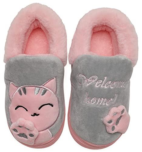 Vunavueya Zapatillas de Estar por Casa Niña Niño Zapatos Pantuflas Invierno Bebé Interior Caliente Peluche Forradas Slippers Gris(Cat) 31/32 EU/220CN