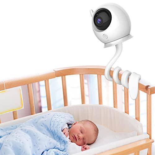 Soporte Universal para Monitor de Bebé, Soporte Flexible para Cámara, sin Taladrar para Guardería, Soporte para Cuna Compatible con Cámara de Monitor de Bebé con Orificio Roscado de 1/4