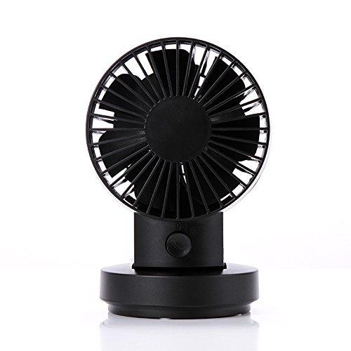 Lianguk - Mini ventilatore USB modalità 2velocità, doppie lame, mini ventilatore da scrivania, ventilatore da tavolo oscillante ventilatore USB piccolo ventilatore personale nero